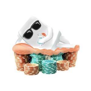 vit figur som ligger på spelmaker och dricker en paraplydrink